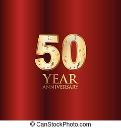 50 Year Anniversary Gold With Red Background Vector Template Design Illustration