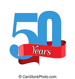 50 year anniversary logo with red ribbon. Flat style vector...
