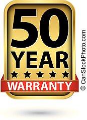 50 year warranty golden label, vector illustration