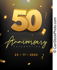 50 Years Anniversary Celebration event. Golden Vector birthday or wedding party congratulation anniversary 50th