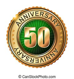 50 years anniversary golden label. Vector illustration.