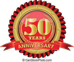 50 years anniversary golden label with ribbons. Vector