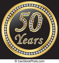 50 years anniversary, happy birthday golden icon with diamonds, vector
