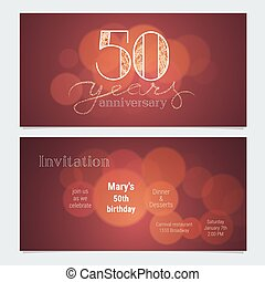 50 years anniversary invitation to celebration vector illustration