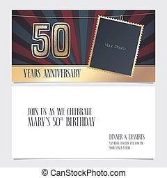 50 years anniversary invitation vector illustration. Graphic design element