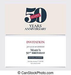 50 years anniversary invitation vector illustration. Graphic design template