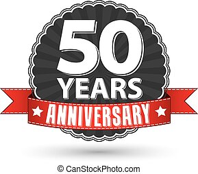 50 years anniversary retro label with red ribbon, vector illustration