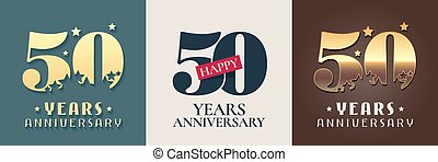 50 years anniversary set of vector icon, symbol, logo