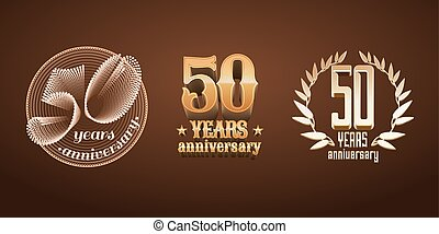 50 years anniversary set of vector logo, icon, number