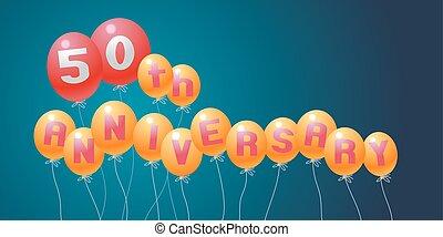 50 years anniversary vector illustration, banner, flyer, logo