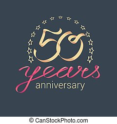 50 years anniversary vector icon, logo