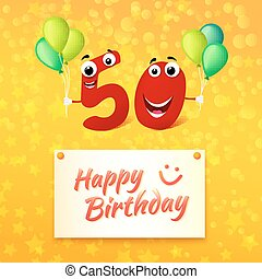 50 years Happy Birthday colorful greeting card