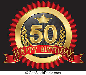 50 years happy birthday golden label with ribbons