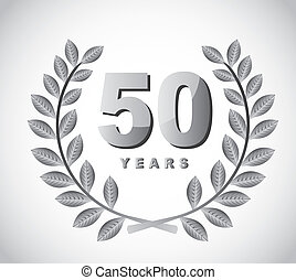 50 years with laurel wreath over gray background. vector