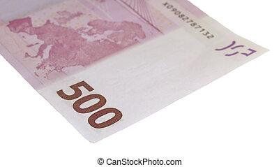 500, euro, aislado, blanco