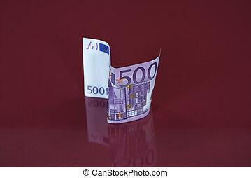 500, eurobiljet, weerspiegelt, in, glas