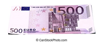 500 euro banknote on a white background