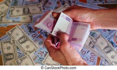 500, euros, billets banque, nous, dollars., fond, homme affaires, compte, contre