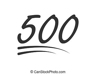 500 - hundred number vector icon. Symbol isolated on white background