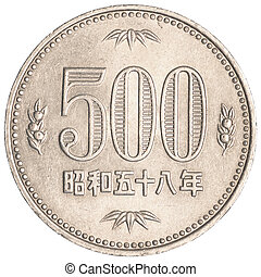 500 japanese yens coin isolated on white background