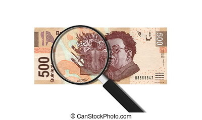 500 Mexican Pesos Magnified Animation.