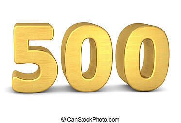 500, número, oro, 3d