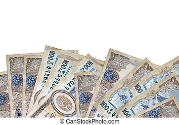 500 Nepalese rupees bills lies on bottom side of screen isolated on white background with copy space. Background banner template for business concepts with money