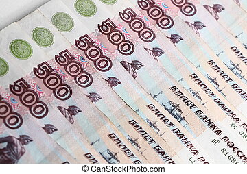 500 rubles macro close up - money background