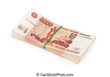 5000, 돈, rubles, 배경, 러시아어, 백색