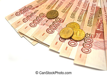 5000 banknotes and 10 rubles coins