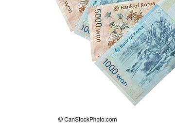 5000, gagné, valeur, billets banque, arrière-plan., corée,...