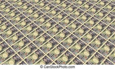 5000 japanese yen,Printing Money Animation.