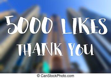 5000 likes. Thank you banner. Social media milestone.