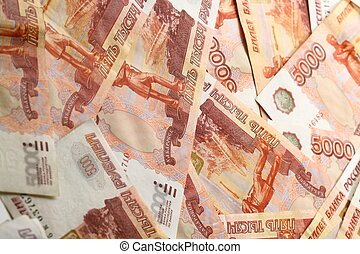 5000 rubles macro close up - money background