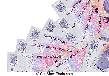 50000 Romanian leu bills lies in different order isolated on white. Local banking or money making concept. Business background banner