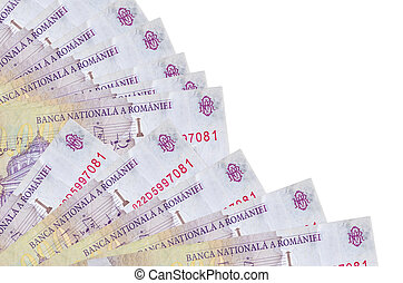 50000 Romanian leu bills lies isolated on white background with copy space stacked in fan close up. Payday time concept or financial operations