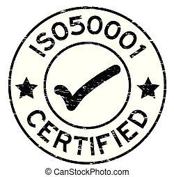 50001, grunge, postzegel, mark, rubber, zwarte achtergrond, zeehondje, iso, witte , ronde, pictogram