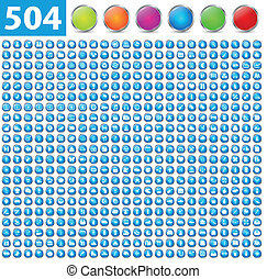 504 glossy icons isolated