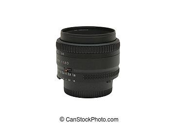 50mm SLR camera lens isolated on white