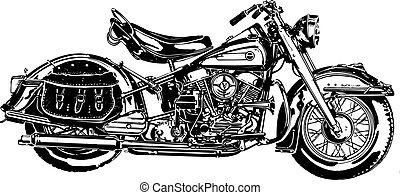 50's, americano, motocicleta, miod
