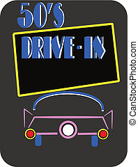 50\'s drive in on black