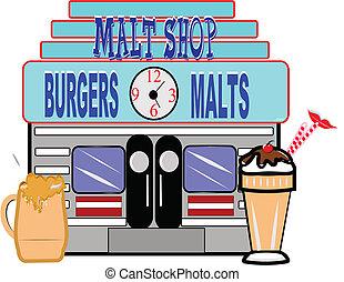 50's era malt shop - retro illustration of fifties era malt...