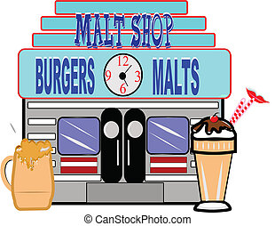 50's era malt shop - retro illustration of fifties era malt...