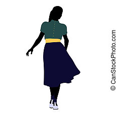 50\'s female dancer Illustration Silhouette