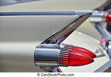50's fins - a close up view of the fins of a vintage 50's...