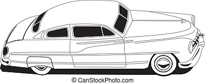 50's Mercury - Line Drawing Vectored Mercury