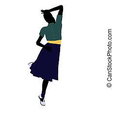 50\'s, tancerz, sylwetka, samica, ilustracja