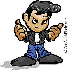 50?s, tumme, läder, jeans, uppe, illustration, jacka, vektor, bilmekaniker, kylig, tecknad film, gest, unge