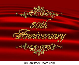 50th, 招待, 記念日, 赤, 結婚式