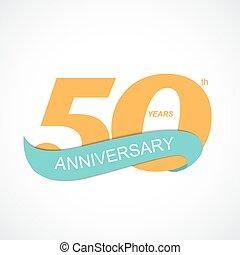 50th, 記念日, イラスト, ベクトル, テンプレート, ロゴ